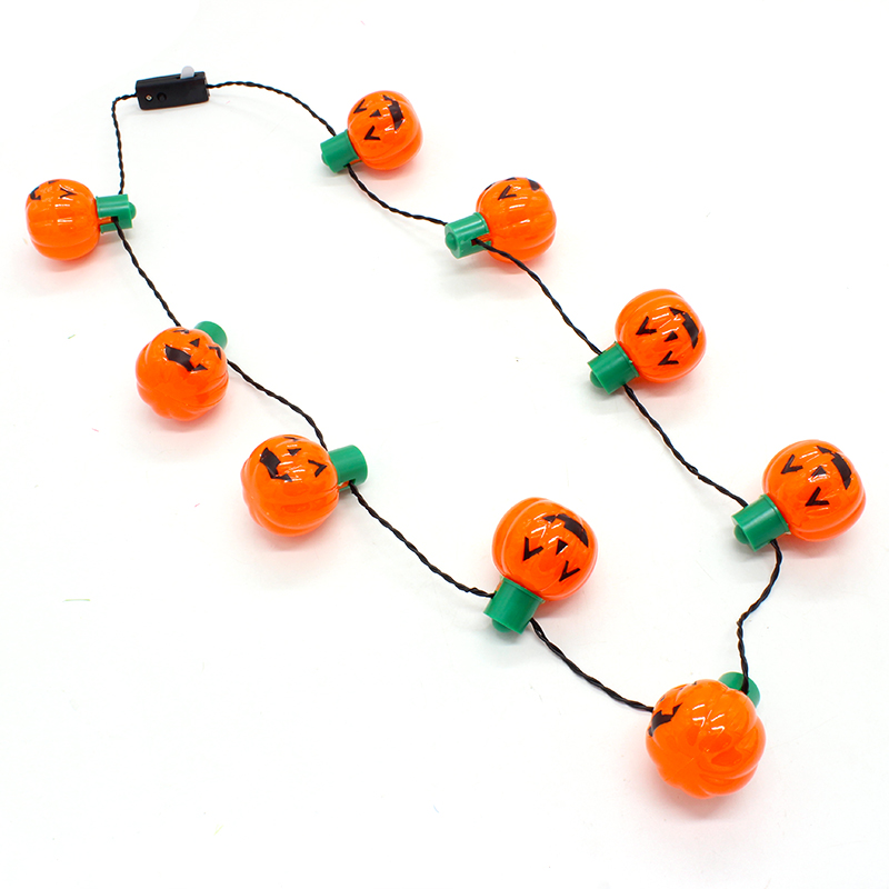 led halloween pumpkin necklace